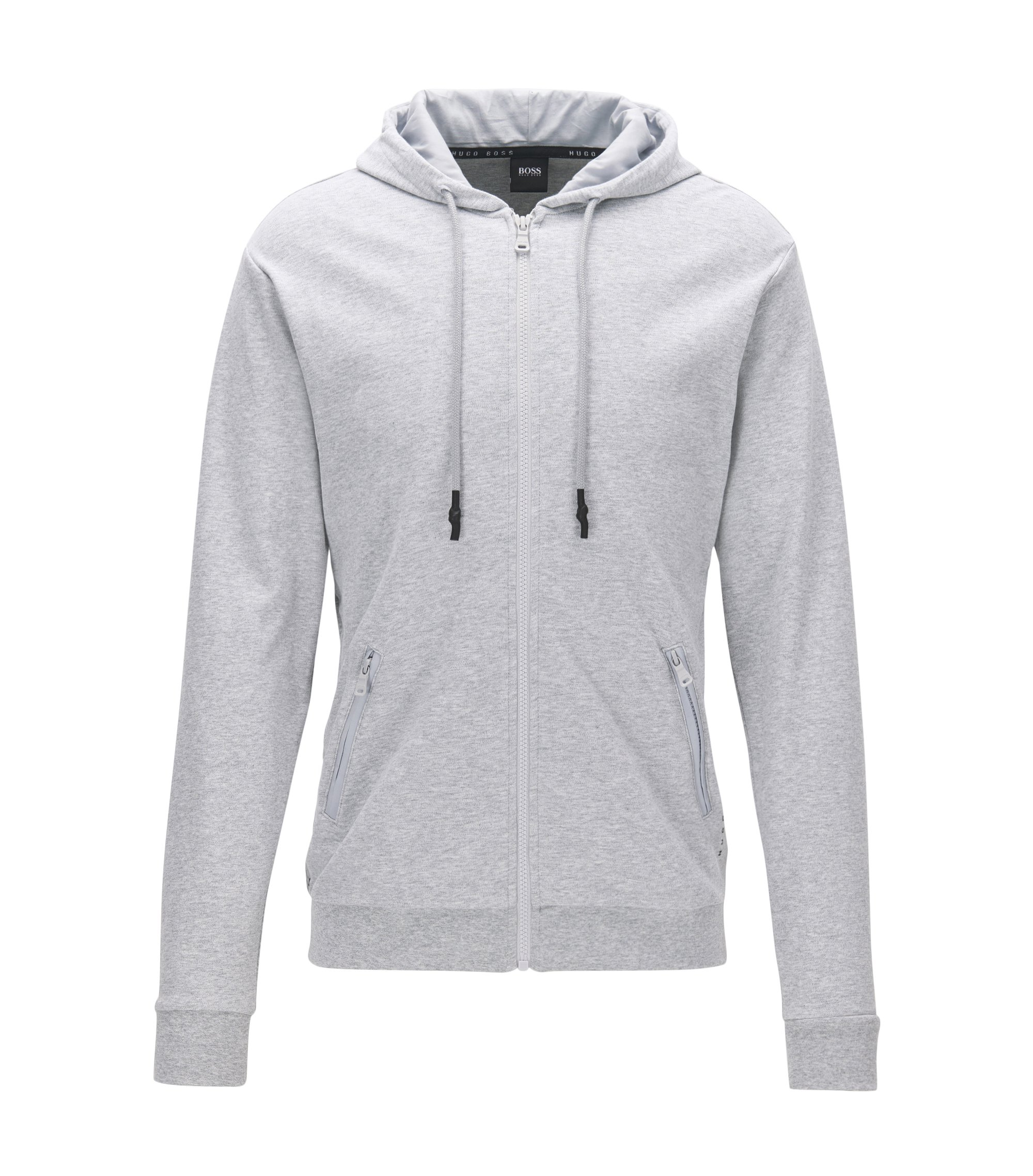 Zip-through hooded jacket in interlock cotton, Grey