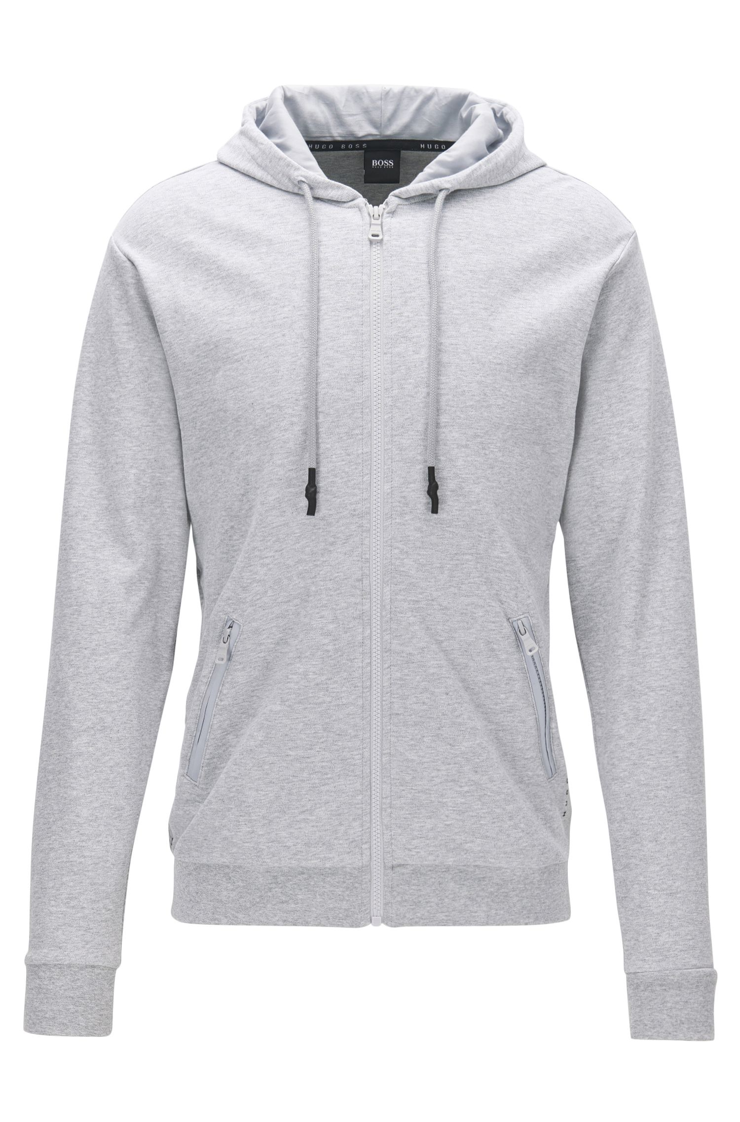 Zip-through hooded jacket in interlock cotton