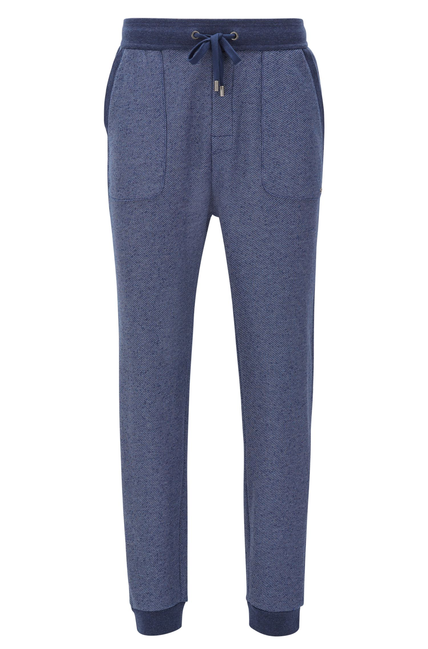 Cuffed loungewear trousers in a structured cotton blend