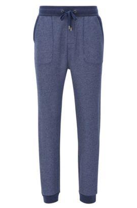 Pantaloni per il tempo libero con bordi a coste in misto cotone lavorato, Blu scuro