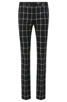 Regular-fit virgin wool trousers, Patterned