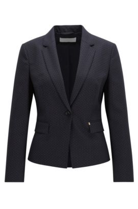 Regular fit jacket in virgin wool mix, Patterned