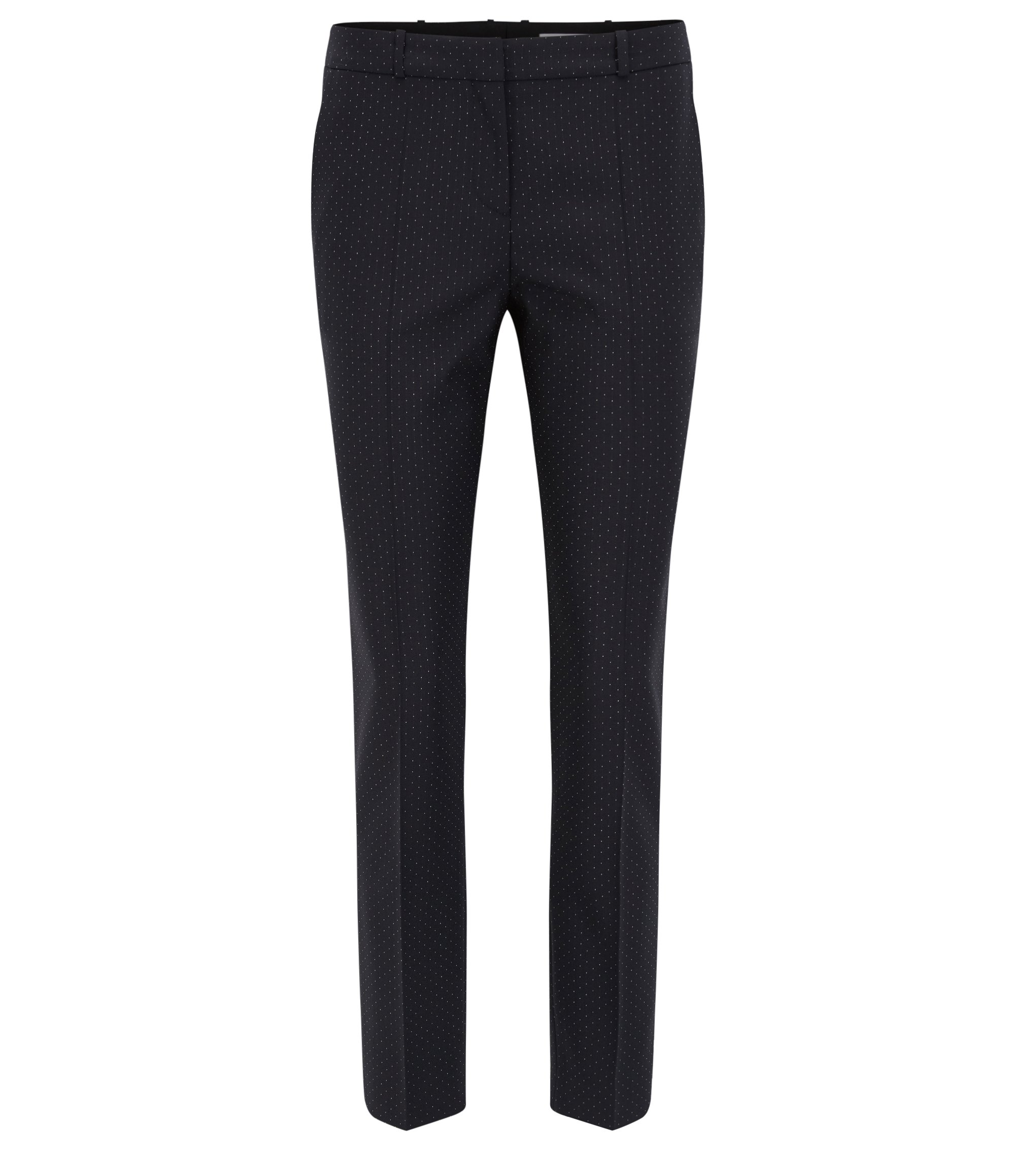 Slim-fit trousers in stretch dotted virgin wool, Patterned