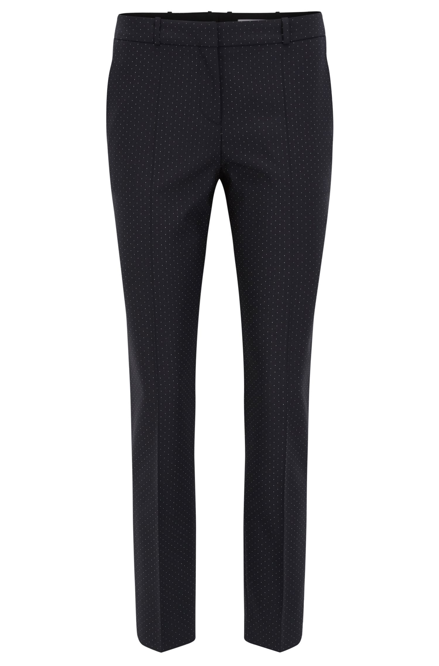 Pantalon Slim Fit en laine vierge stretch à pois