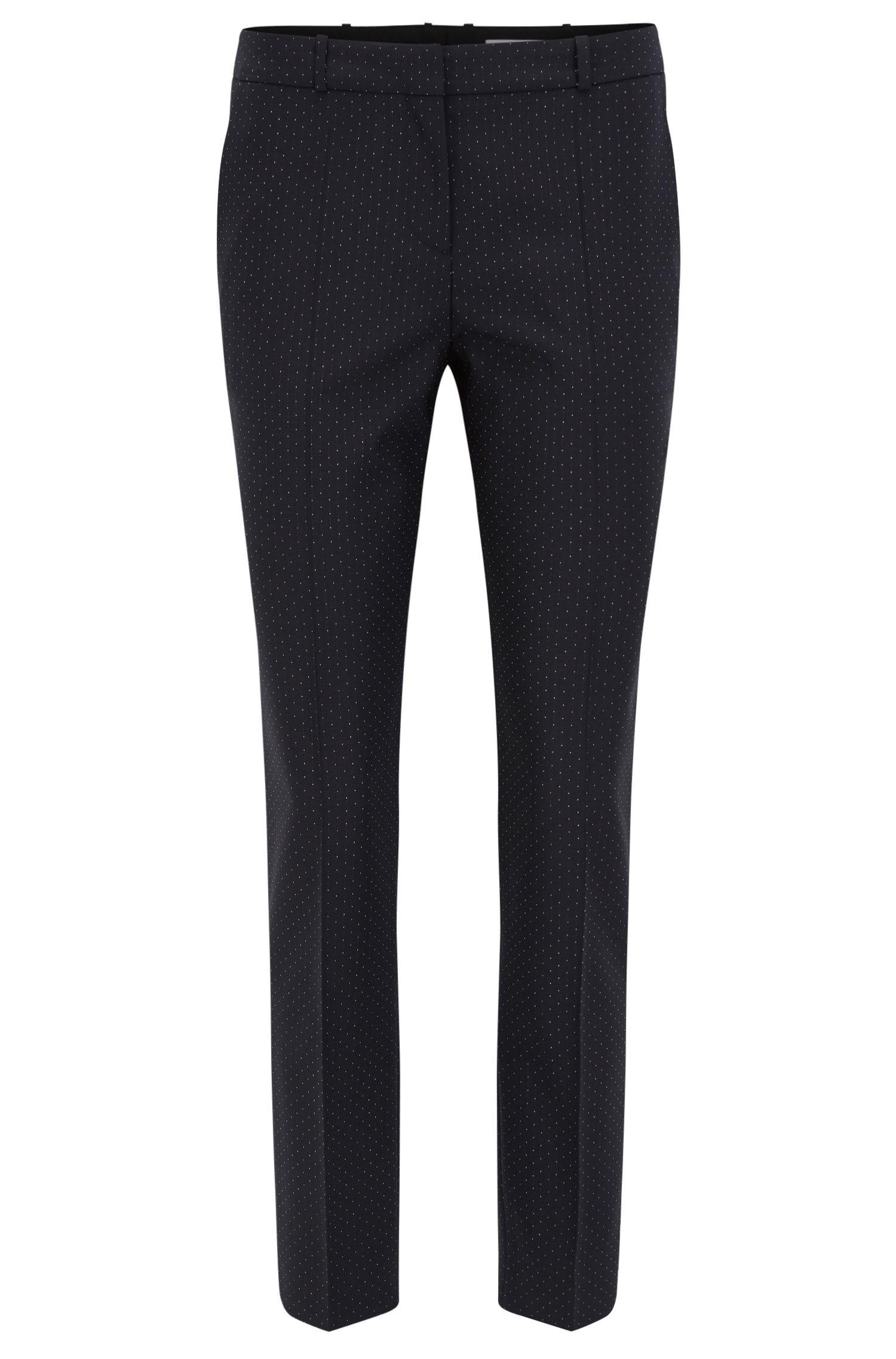 Gepunktete Slim-Fit Hose aus elastischer Schurwolle