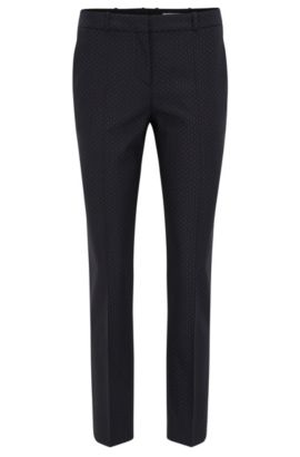 Slim-fit trousers in stretch dotted virgin wool, Fantaisie