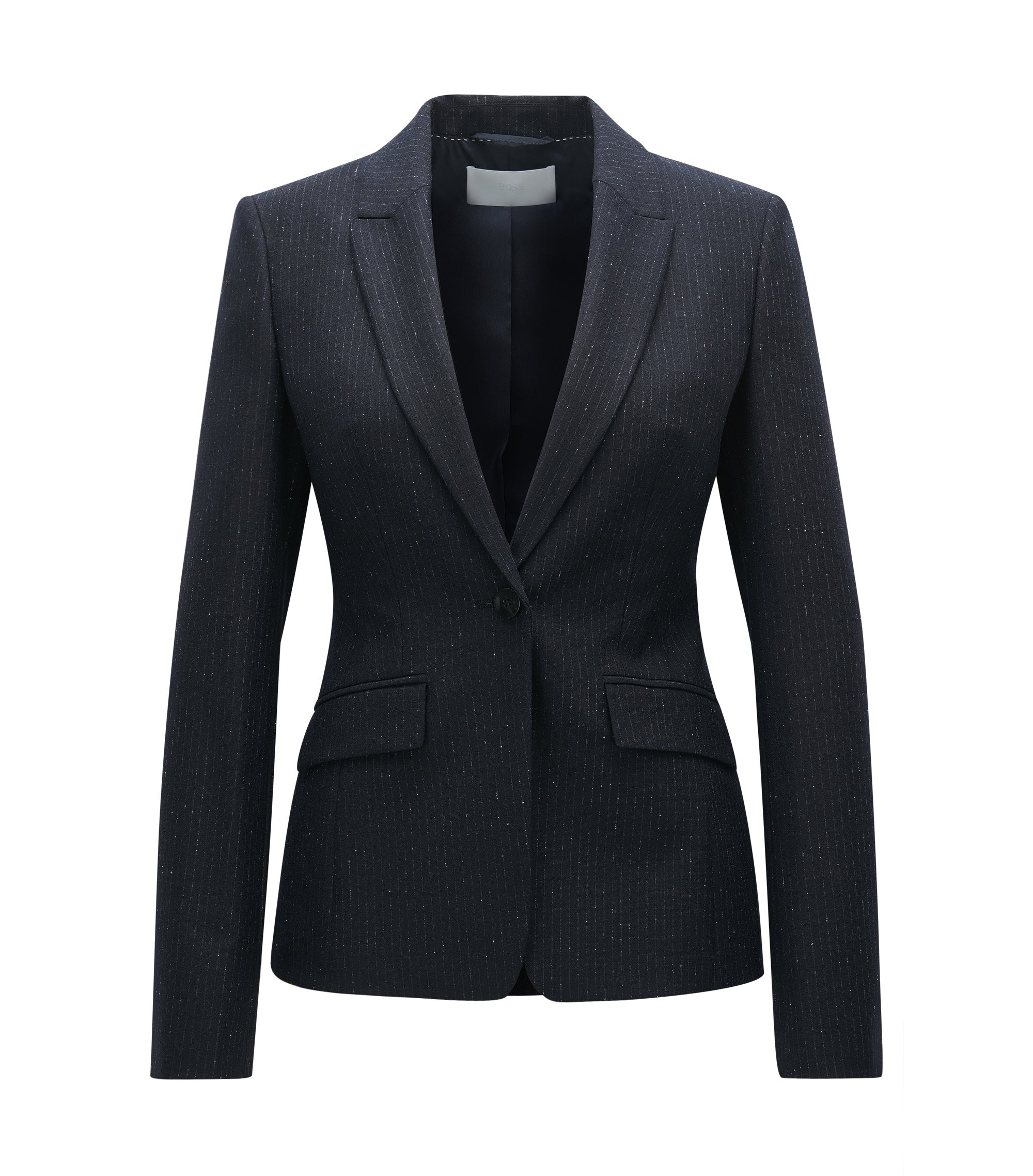Regular fit virgin wool-blend jacket, Patterned