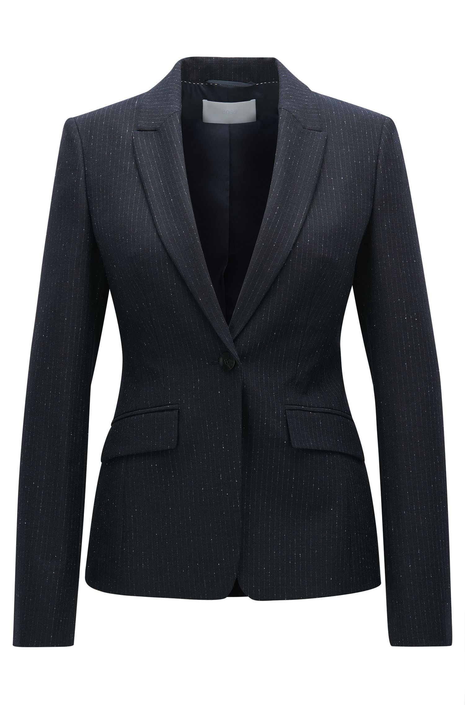 Regular fit virgin wool-blend jacket