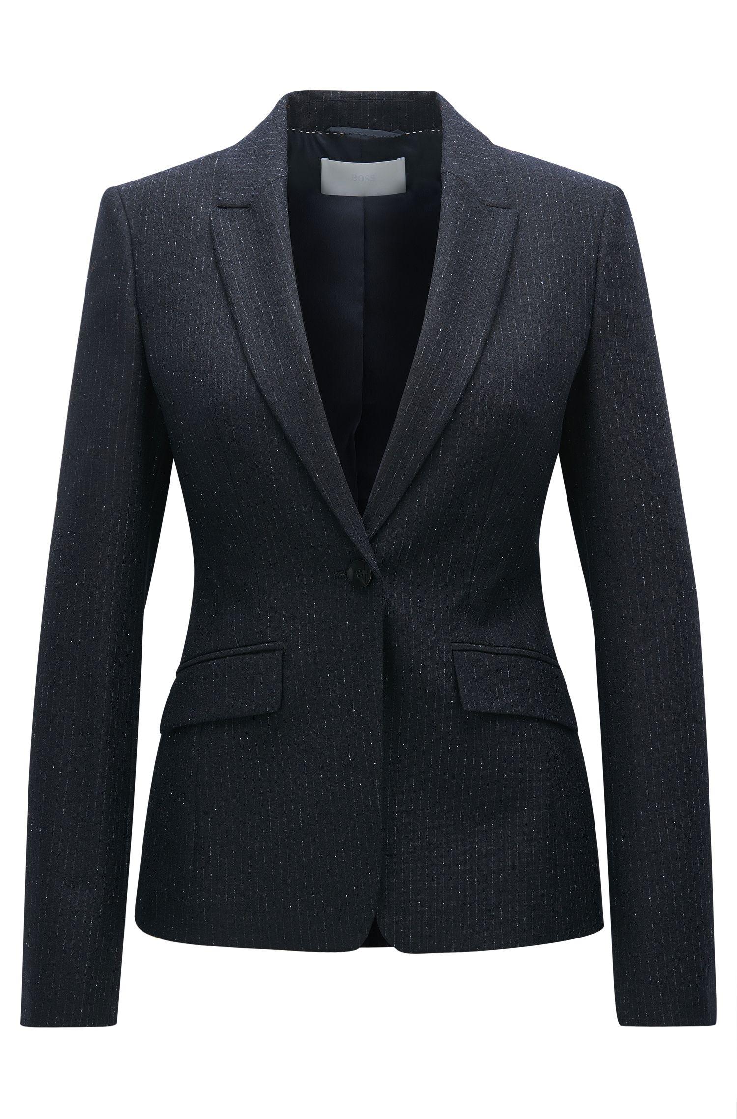 Regular fit virgin wool-blend jacket