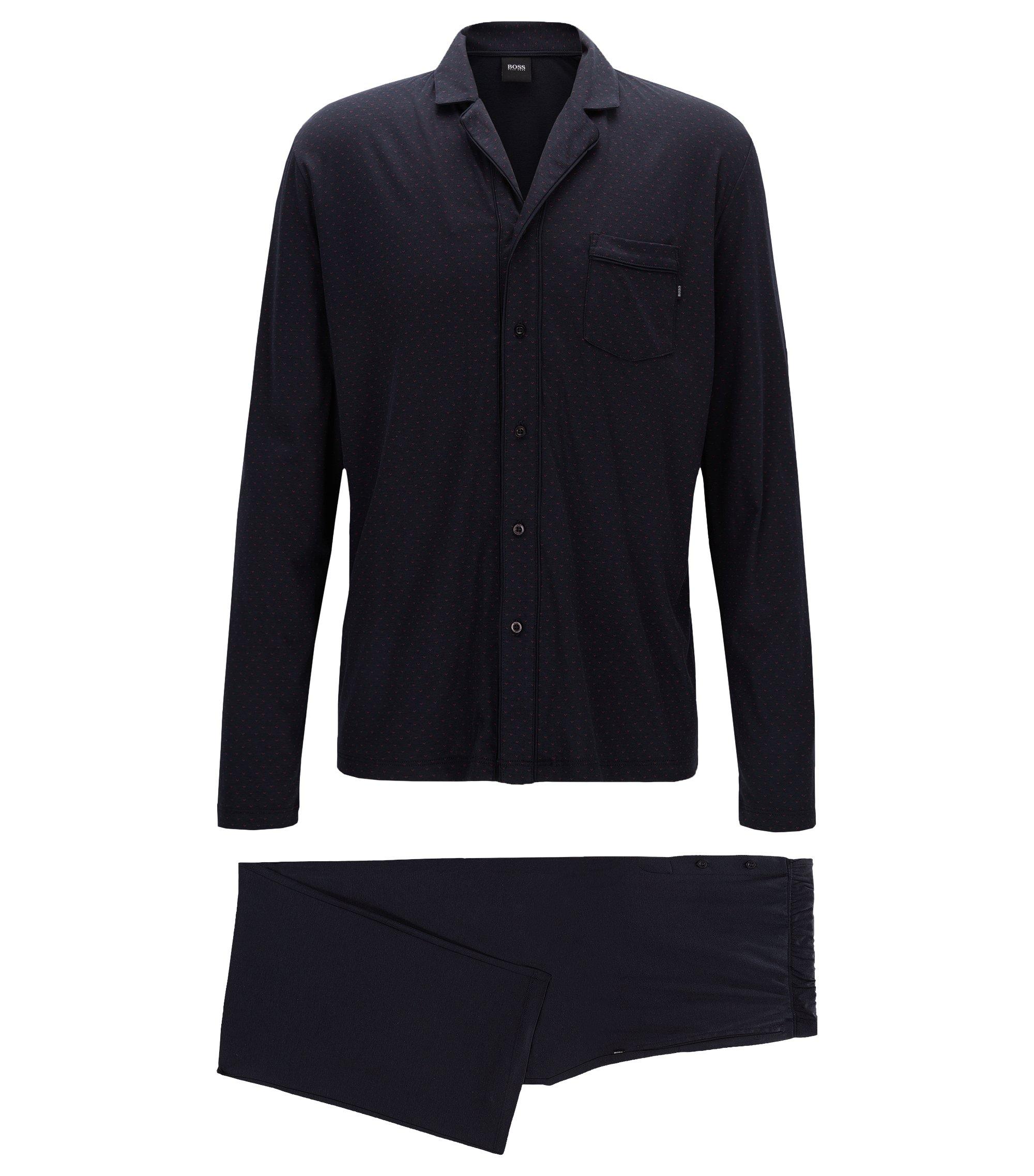 Pyjama à motif en jersey simple de coton et de modal, Bleu