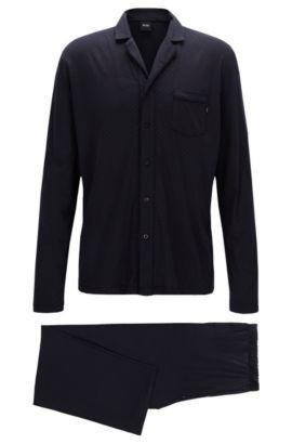 Patterned pyjama set in a cotton-modal single jersey, Blue