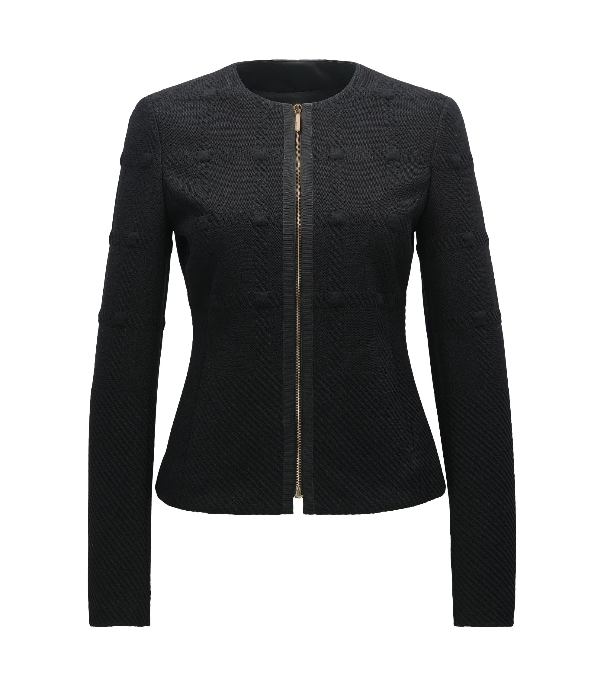 Regular-fit jacket in structured jersey, Black