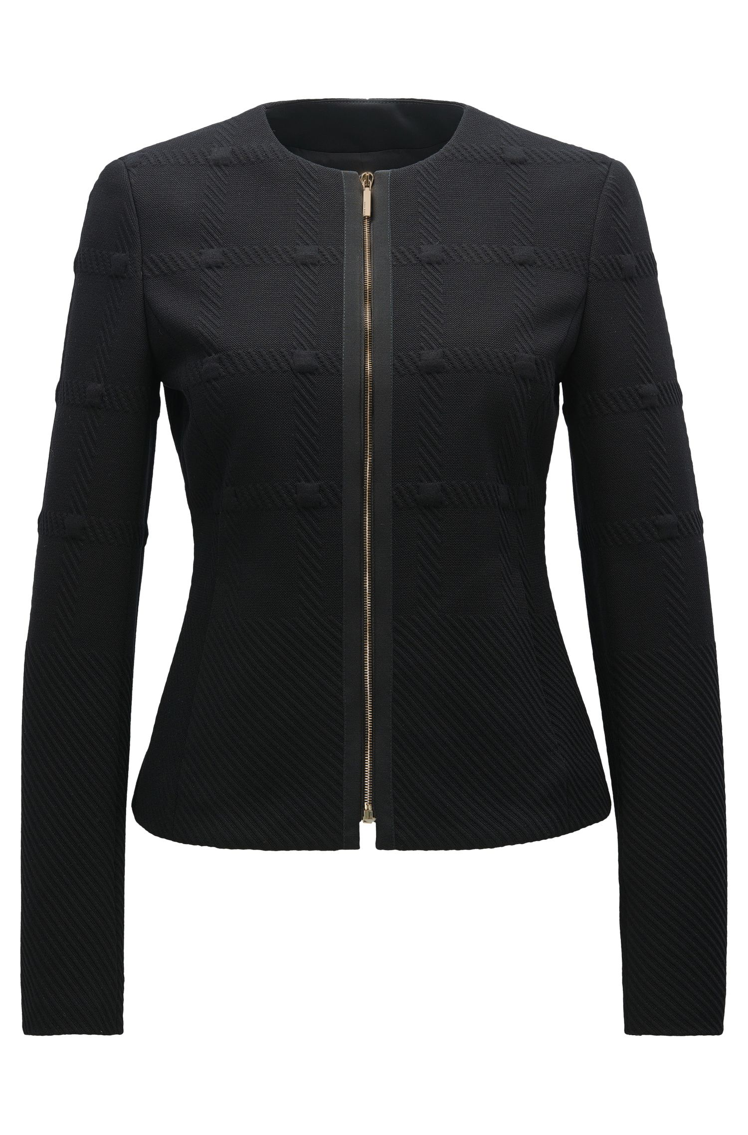 Regular-fit blazer van gestructureerde jersey