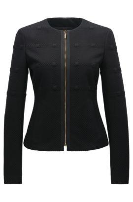 Regular-Fit Blazer aus strukturiertem Jersey, Schwarz