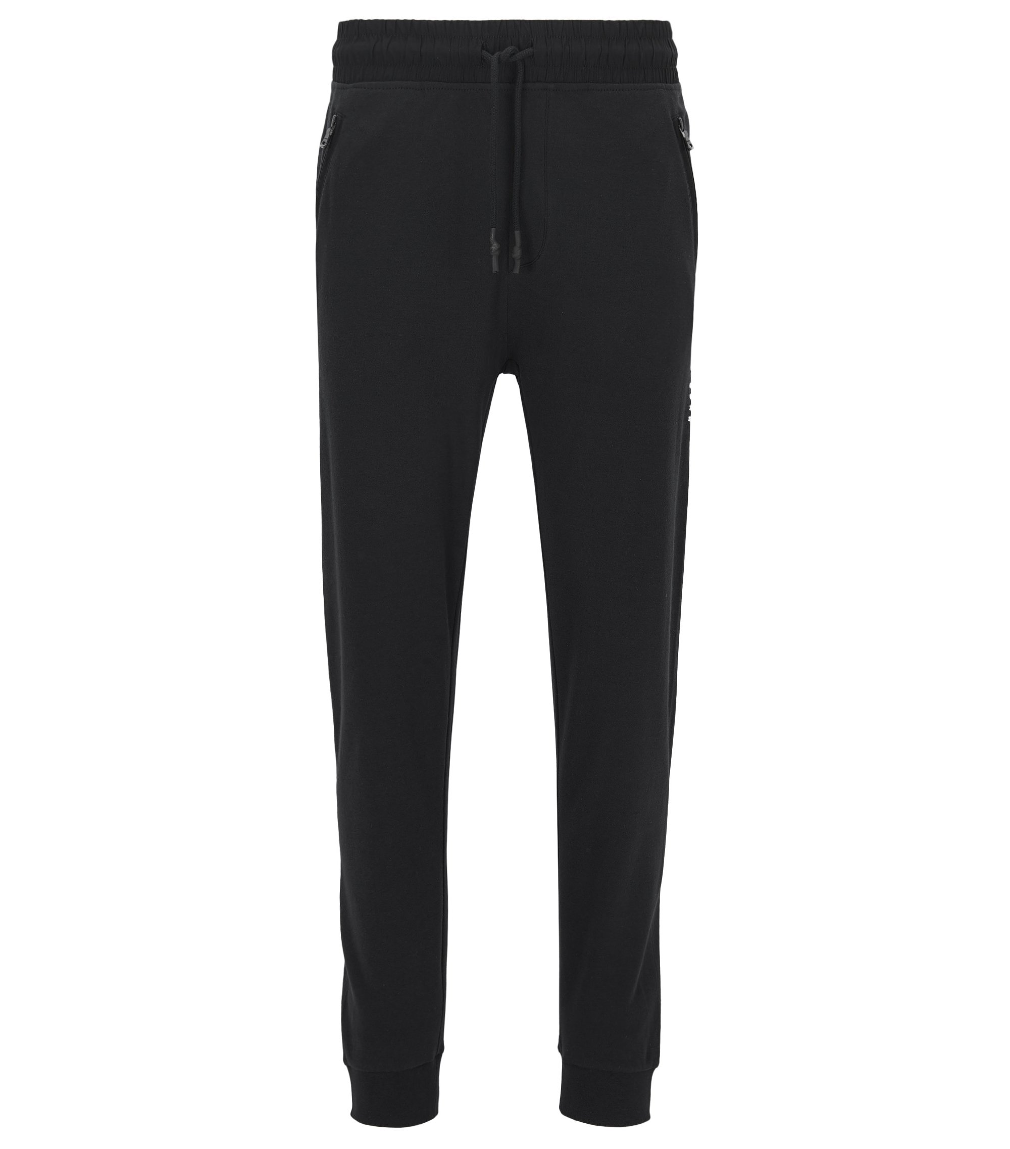 Cuffed loungewear trousers in interlock cotton, Black