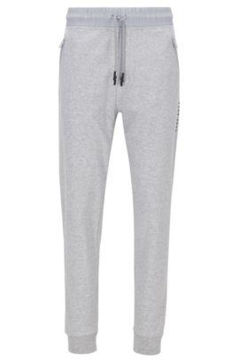 Pantalón loungewear con puños en algodón interlock, Gris