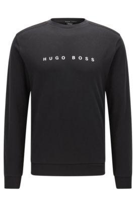 Regular-Fit Loungewear-Pullover aus Baumwolle, Schwarz