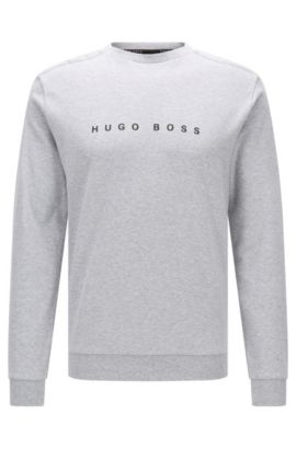 Regular-Fit Loungewear-Pullover aus Baumwolle, Grau