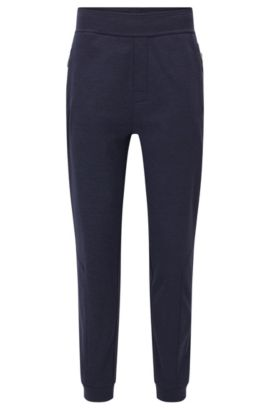 Fleece-lined loungewear trousers in technical fabric, Dark Purple
