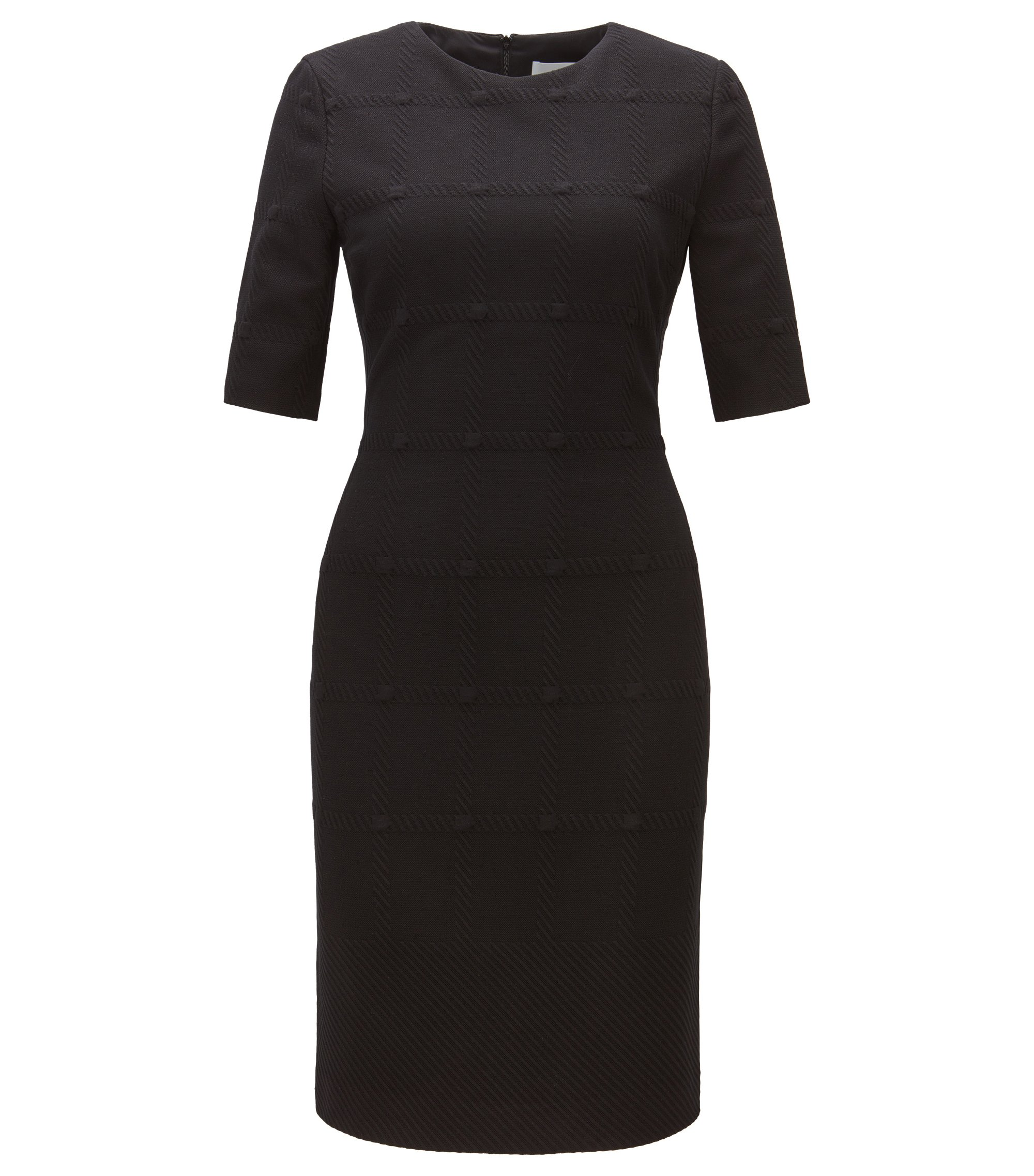 Check-structure dress in soft jersey, Black