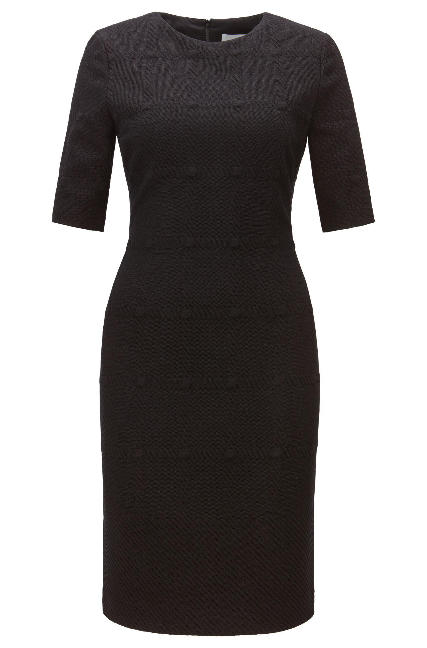 Regular-Fit-Kleid aus weichem Jersey mit Karo-Struktur