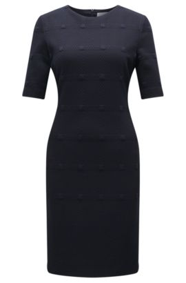 Check-structure dress in soft jersey, Dark Blue