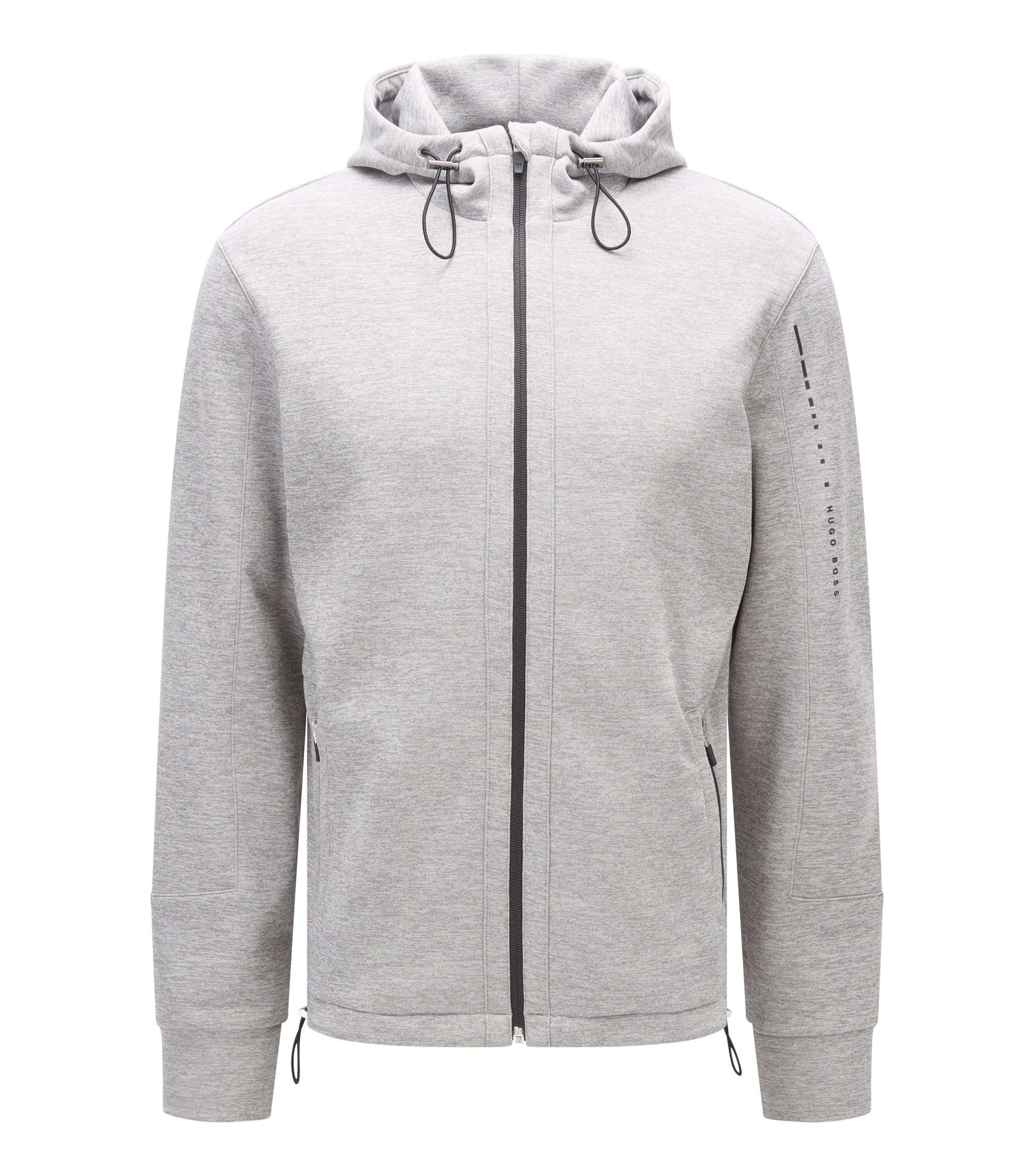 Regular-fit hooded jacket in technical fabric, Grey