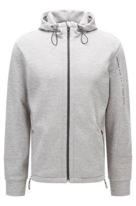 Regular-Fit Kapuzenjacke aus Material-Mix, Grau