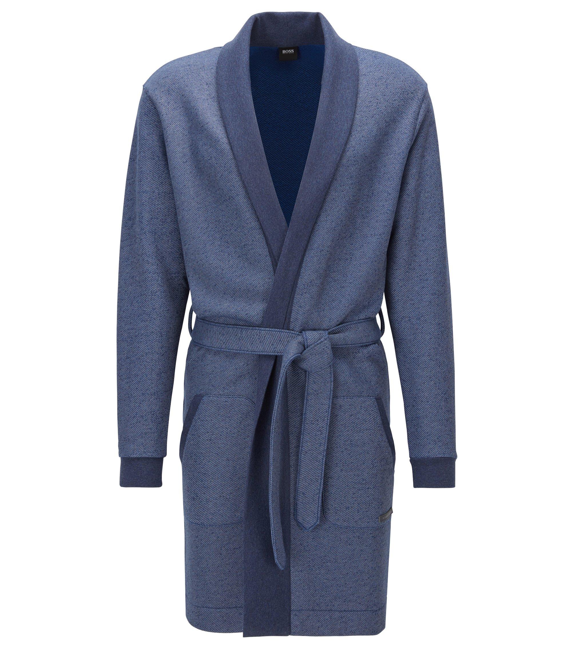 Vestaglia con cintura in misto cotone terry, Blu scuro