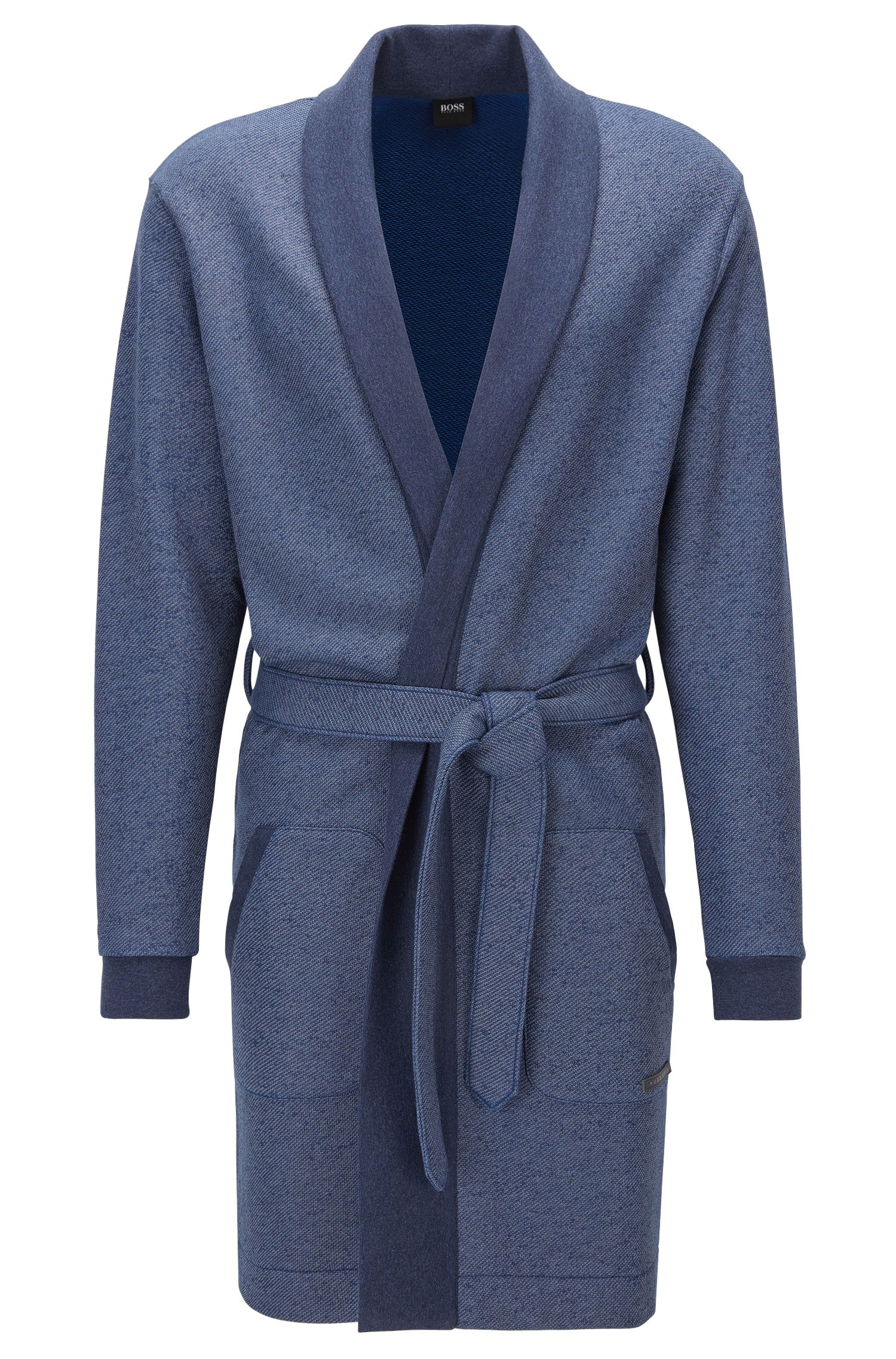 Belted dressing gown in cotton-blend terry