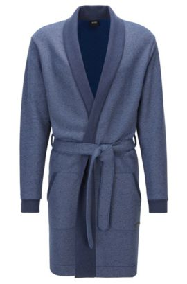 Belted dressing gown in cotton-blend terry, Donkerblauw