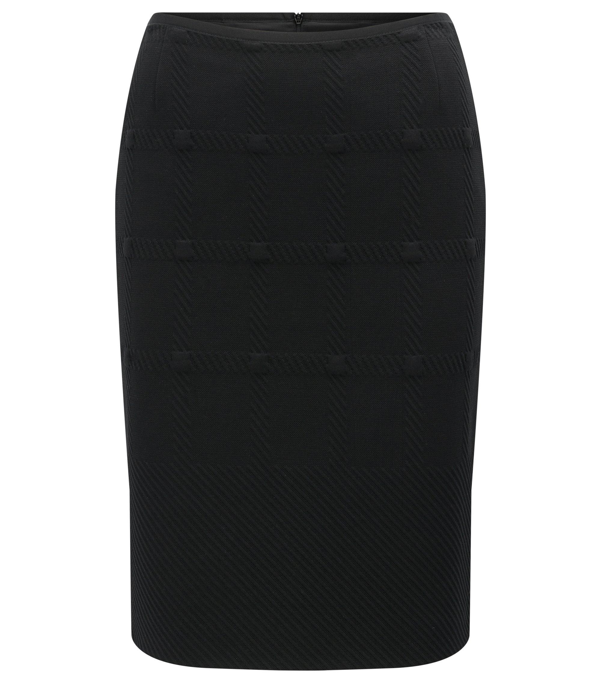 Regular-Fit Bleistiftrock aus Jersey mit Karo-Struktur, Schwarz