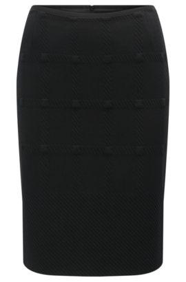 Kokerrok van jersey met ruitstructuur, Zwart