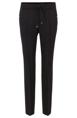 Relaxed-fit trousers in technical crêpe, Black