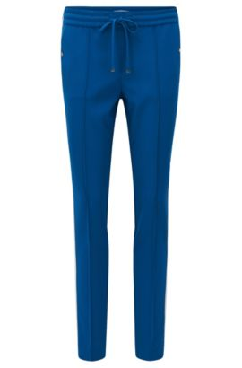 Relaxed-fit trousers in technical crêpe, Blue