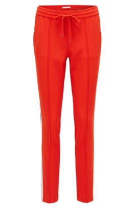 Relaxed-fit trousers in technical crêpe, Red
