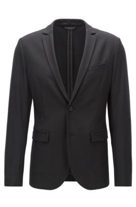 Slim-fit jacket in stretch fabric , Black