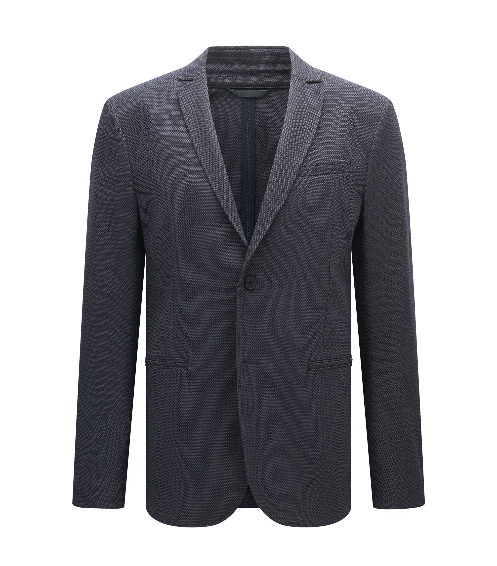 Veste Regular Fit en jacquard stretch, Bleu foncé