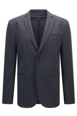 Regular-fit jacket in stretch jacquard, Dark Blue