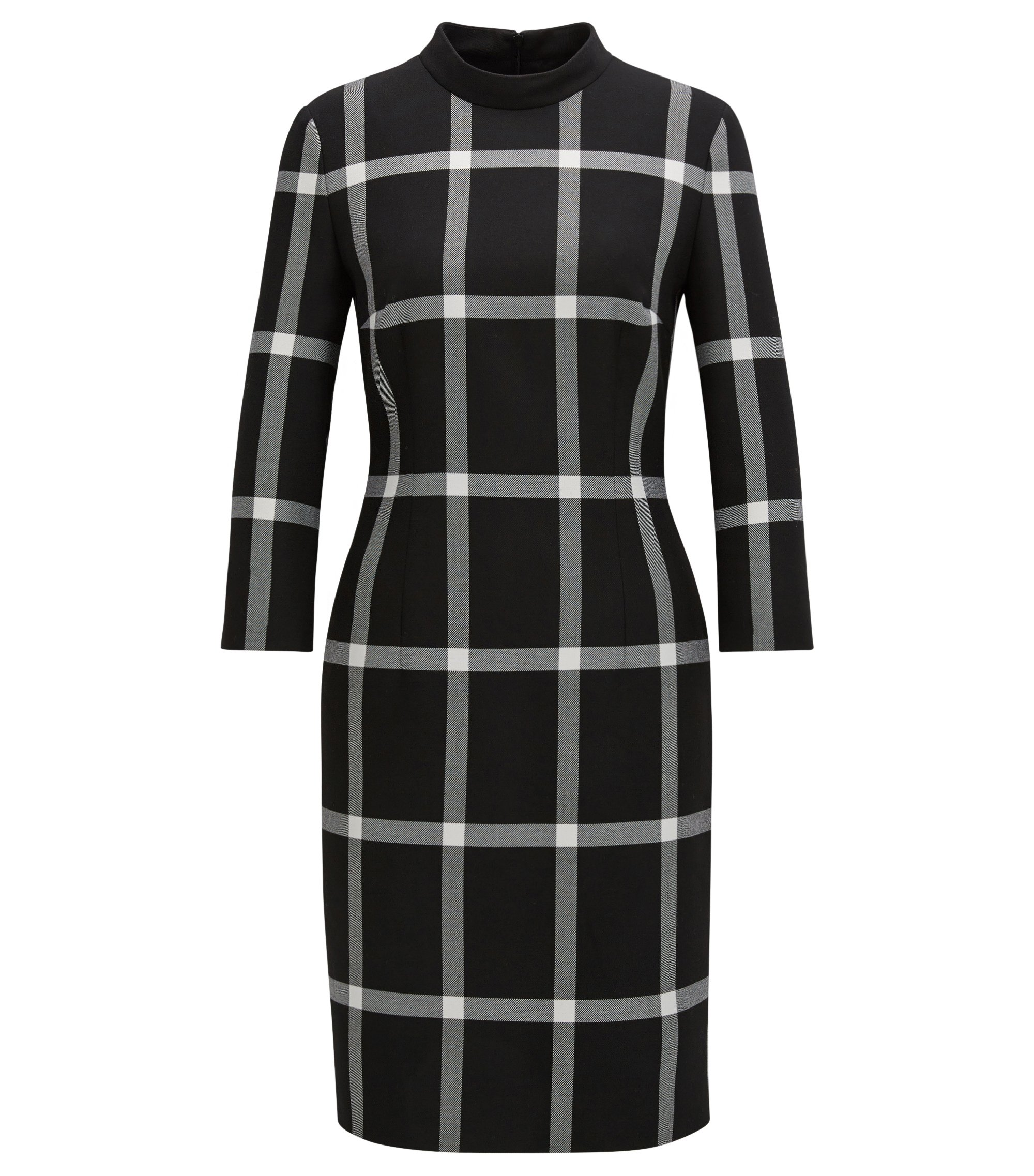 Long-sleeved dress in a checked twill, Patterned