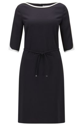 Relaxed-fit dress in technical crêpe, Dark Blue