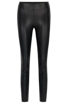 Slim-fit faux-leather trousers, Black