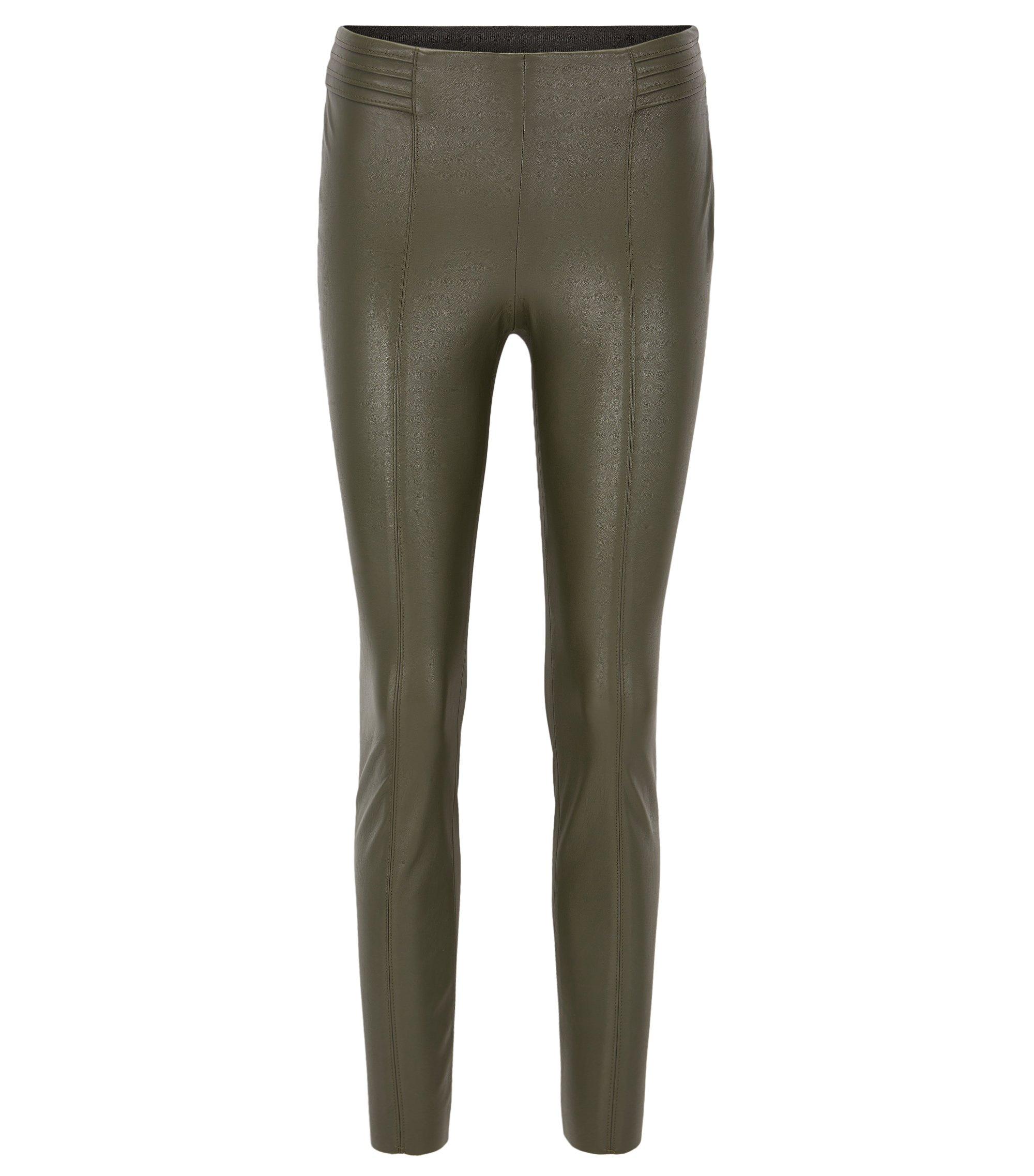 Slim-Fit Hose aus Kunstleder, Khaki