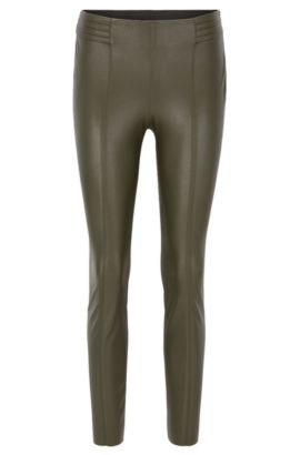 Slim-fit faux-leather trousers, Khaki