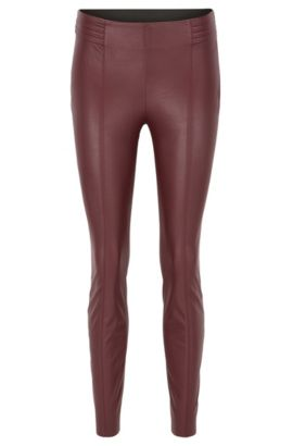 Pantalon Slim Fit en similicuir, Rouge sombre