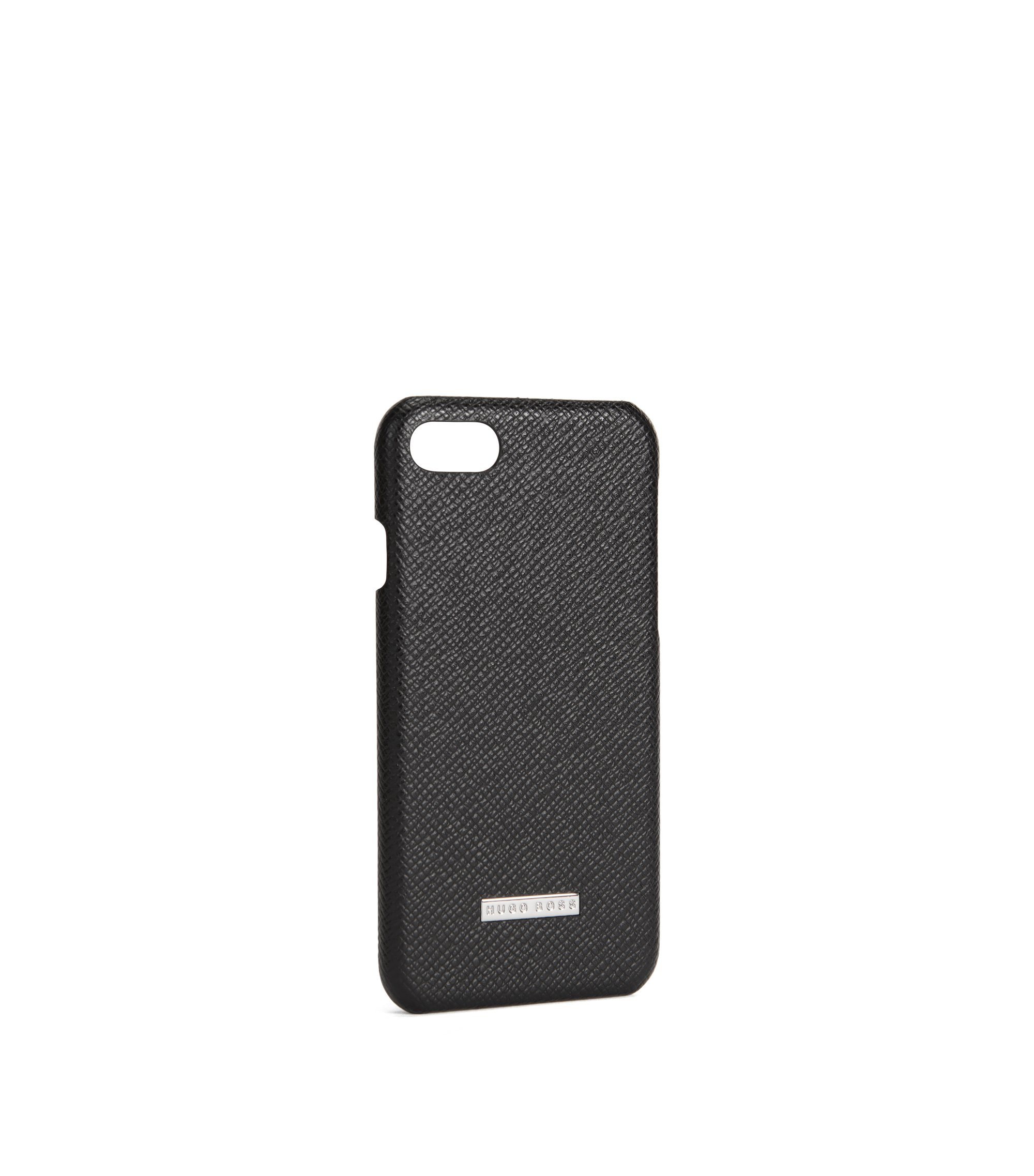 Signature Collection smartphone case in palmellato leather, Black