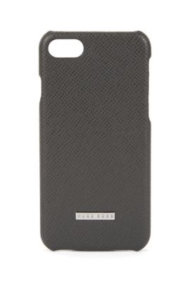 Signature Collection smartphone case in palmellato leather, Dark Grey