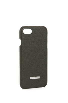 Signature Collection smartphone case in palmellato leather, Dark Green