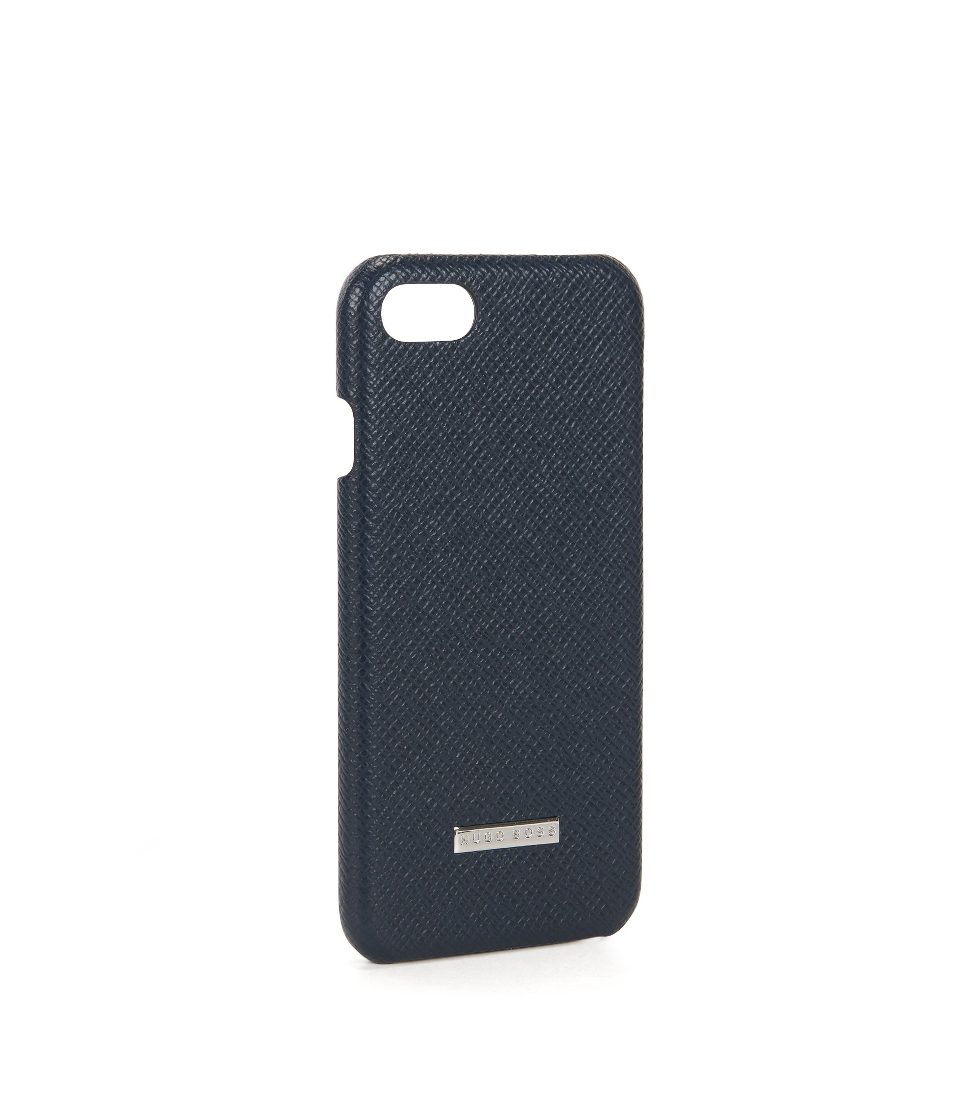 Signature Collection smartphone case in palmellato leather, Dark Blue