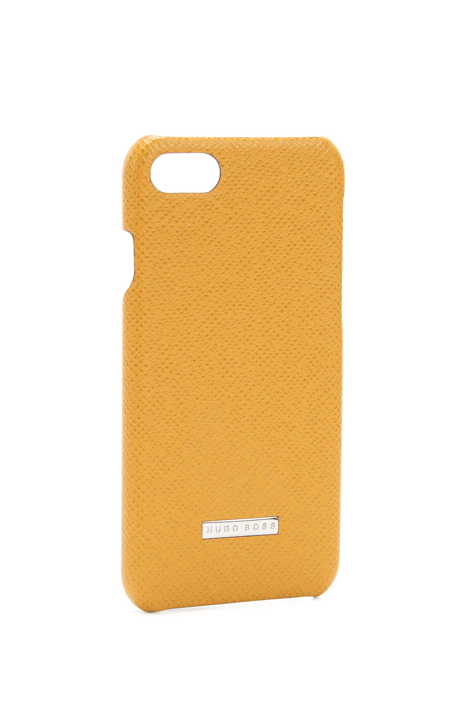 Signature Collection smartphone case in palmellato leather, Yellow